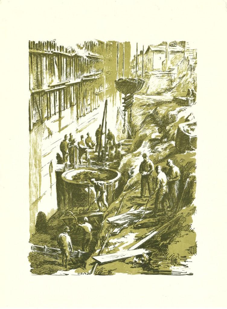 Simion Iuca, Se inalta barajul Bicaz, 1957, linocut, 34x46,5 cm