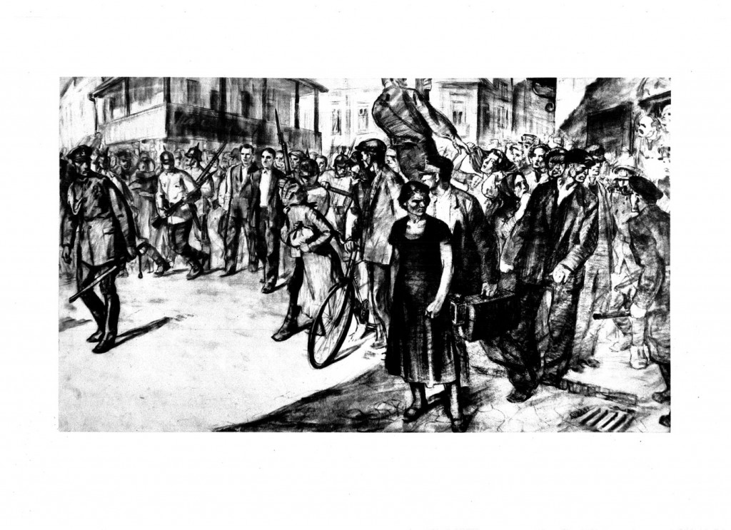 Stefan Szonyi, Demonstratia muncitoreasca in timpul procesului de la Craiova, 1950, desen in carbune, 34×48,5 cm