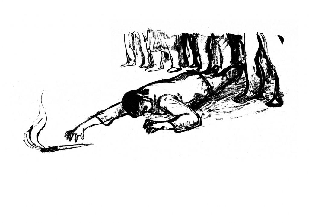 Traian Vasai, Greva, 1963, lithograph print, 34x48,5 cm