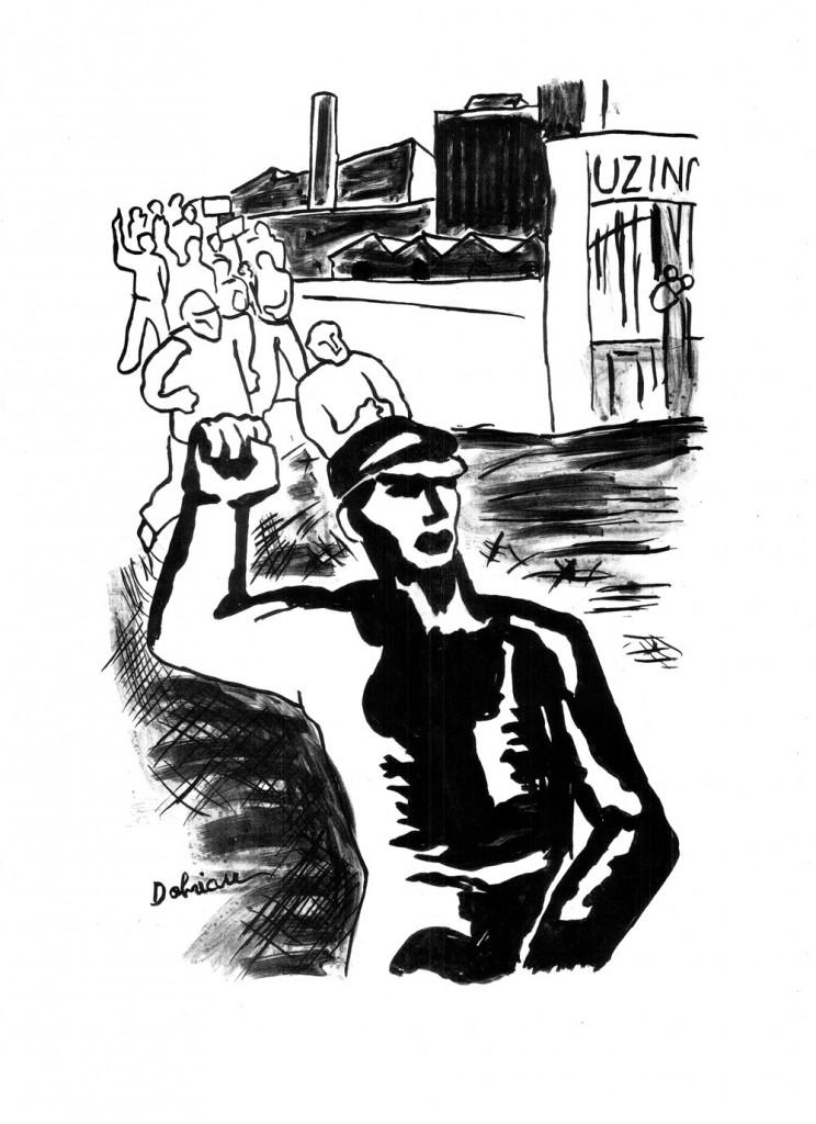 """Vasile Dobrian, Democrație proletară, 1936, ink drawing, published in """"Cuvintul Liber"""",  34×48,5 cm"""