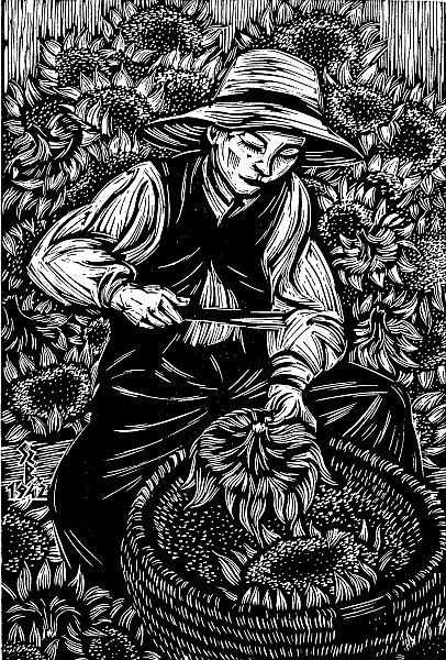 Béla Gy. Szabó, Scuturator de seminte, 1949, woodcut, 33x24 cm