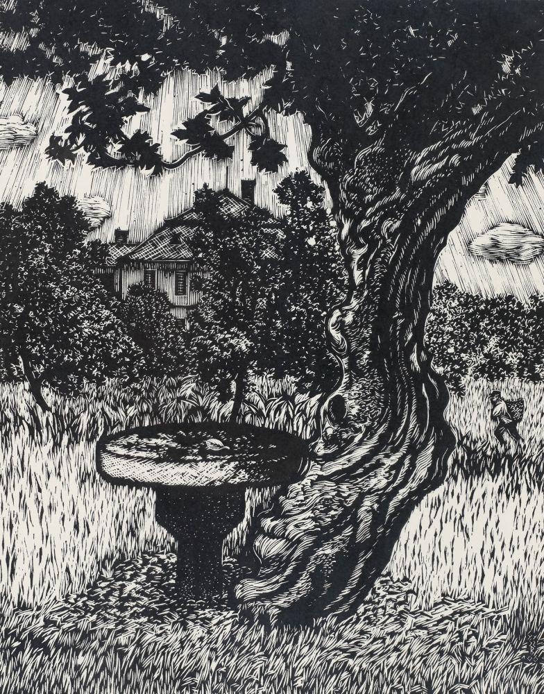 Bela Gy Szabo, La umbra nucului, 1968, xilogravură 31 x 25 cm