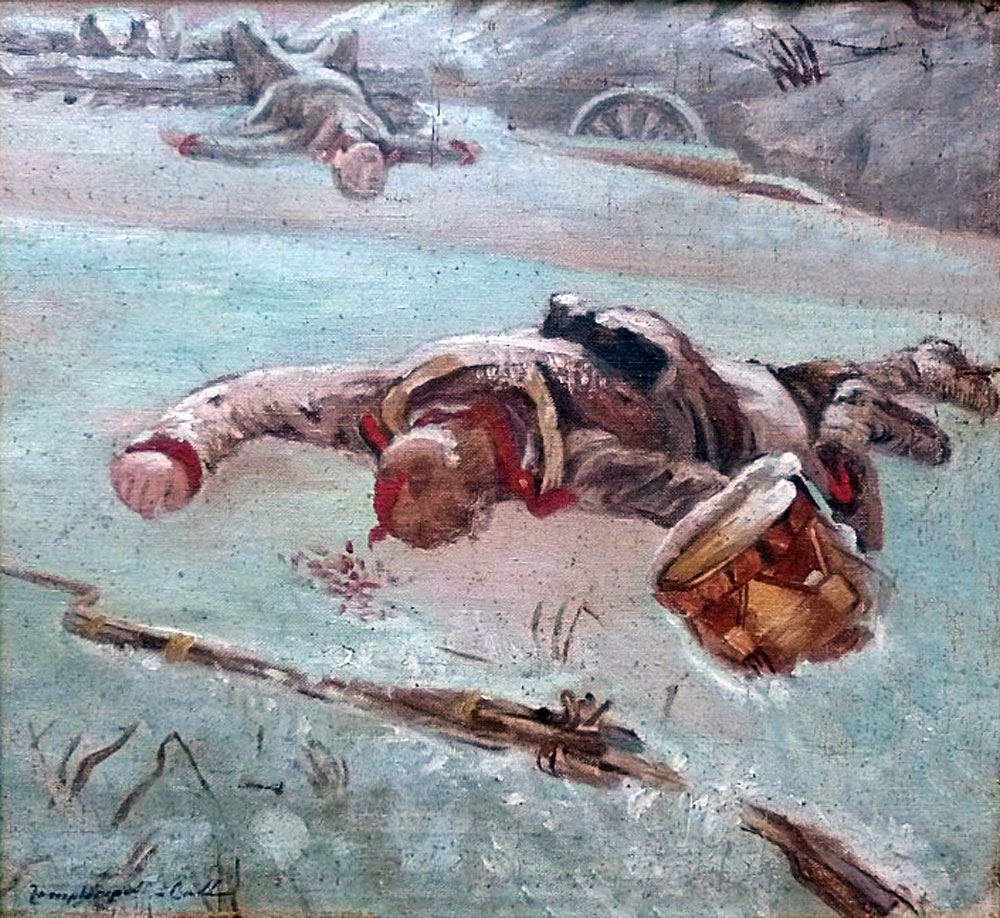 Gheorghe Zamphiropol Dall, Fallen soldiers, oil on canvas mounted on cardboard, 41x37 cm