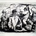 Octav Grigorescu, Maramureș workers, 1958, aquatint, 54x38 cm
