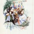 Florica Cordescu, Grup de fete in parc, 1955, ESPLA, 24x33 cm