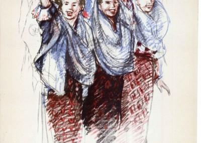 Florica Cordescu, Tineret din RPR manifestind pentru pace, 1955, ESPLA, 24x33 cm