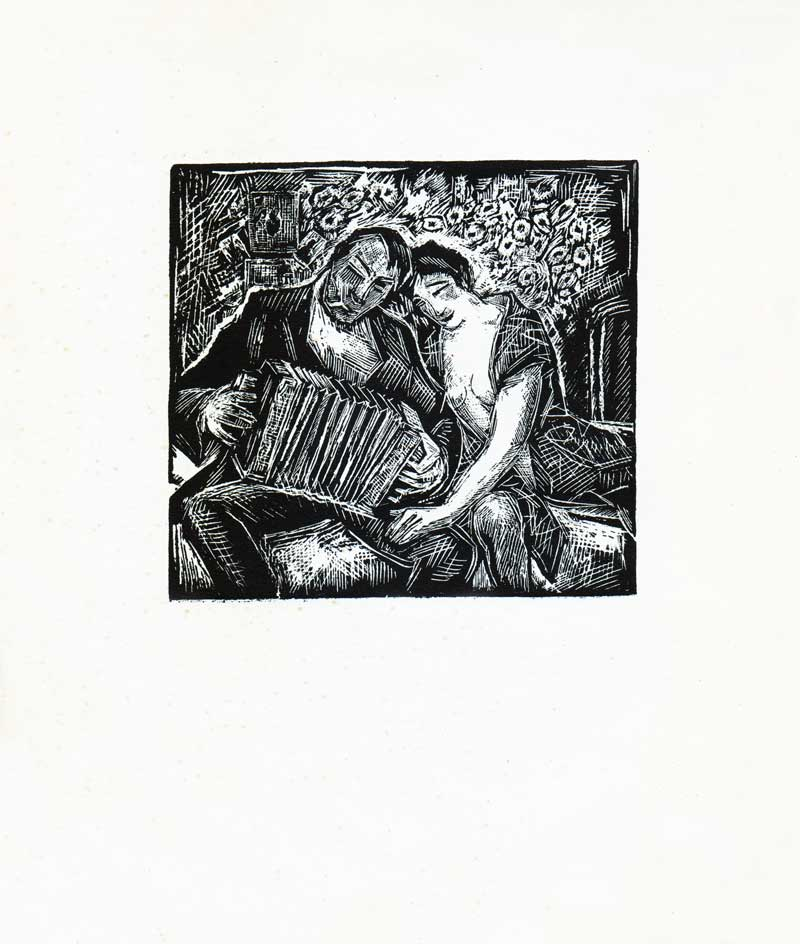"Ion Valentin Anestin, ""Casa cu perdelele lasate"" series, 1935, woodcut, no 74 from 300. 21 x 25.5 cm"