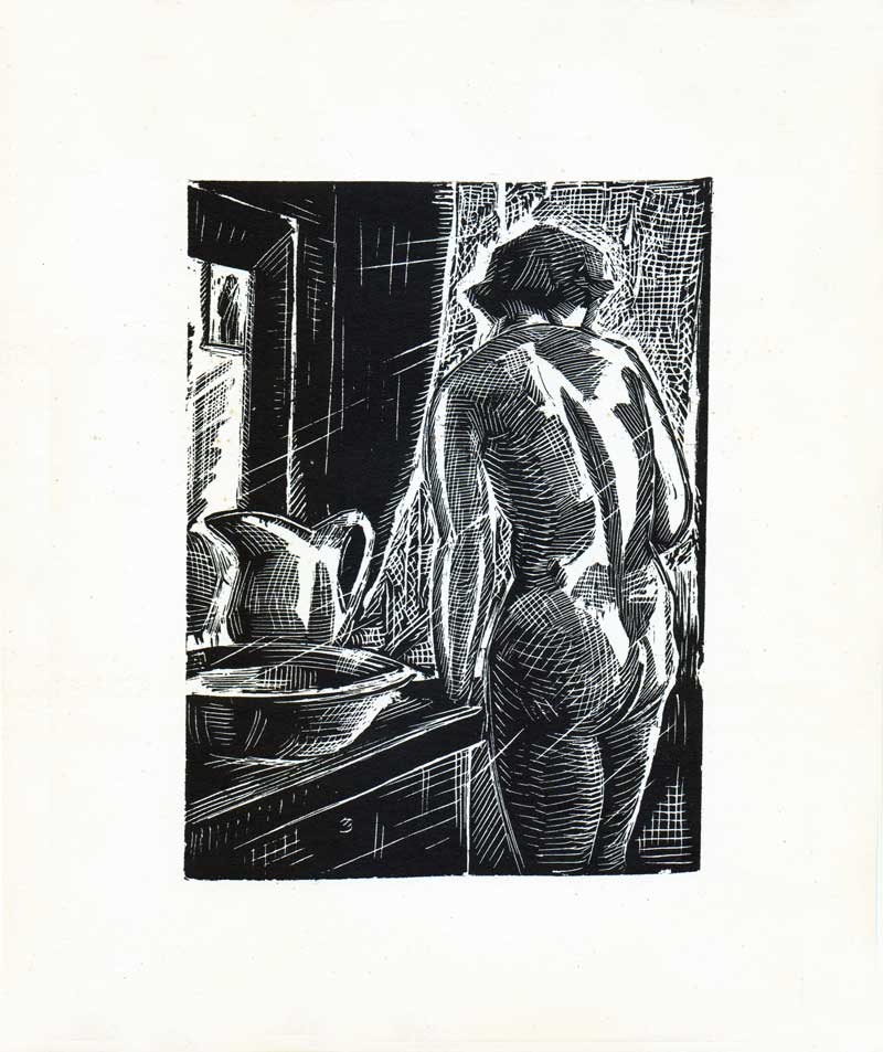 Ion Valentin Anestin, Casa cu perdelele lasate, 1935, woodcut, no 74 from 300. 21 x 25.5 cm