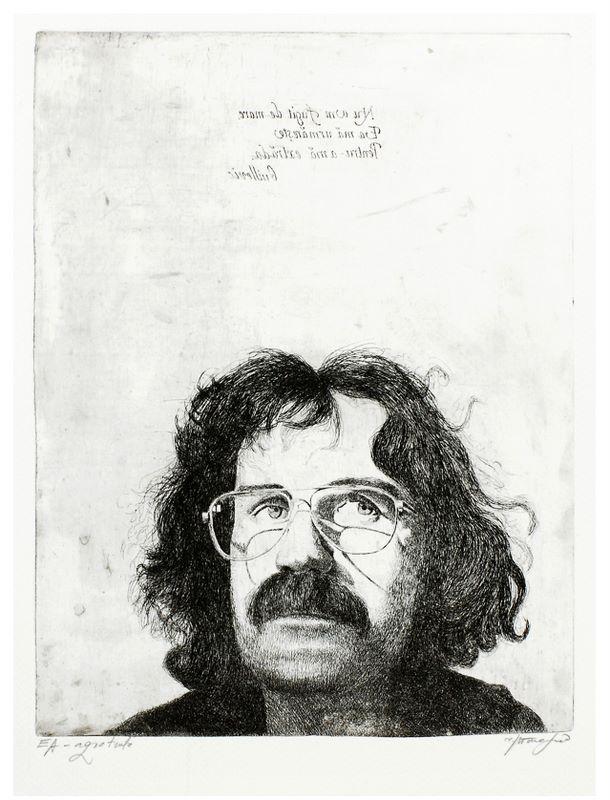Ioan Atanasiu Delamare, Selfportrait, 1989,  EA, 42cm x 34cm, aqua forte, aqua tinta