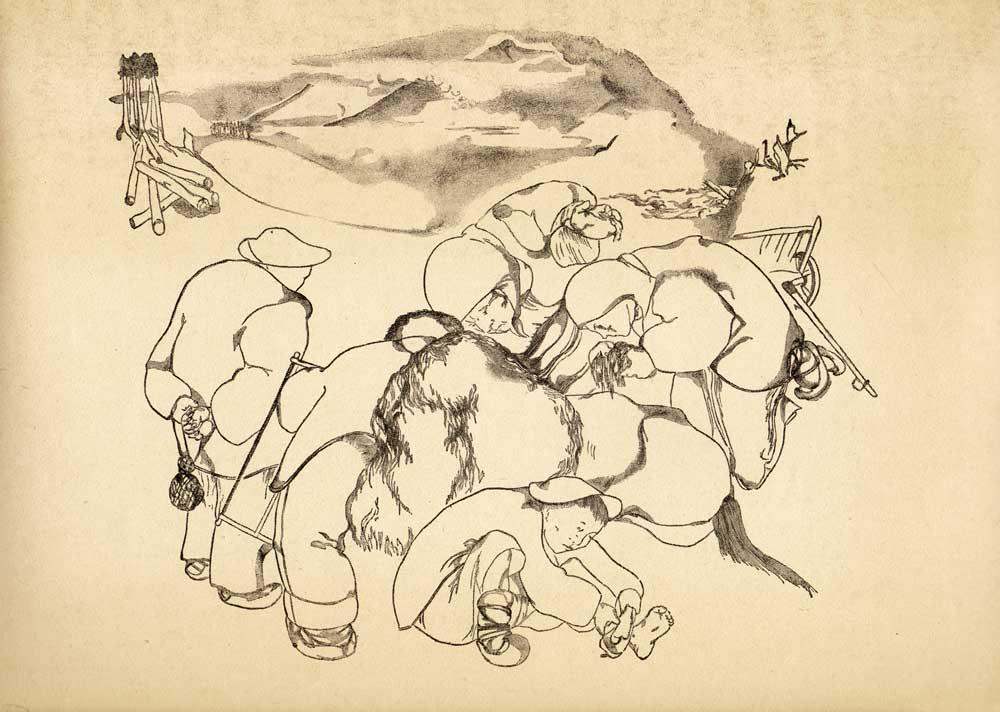 Vasile Kazar, Exhausted Horse, Pita de mălai (Corn bread) series, 1937, 35x25 cm