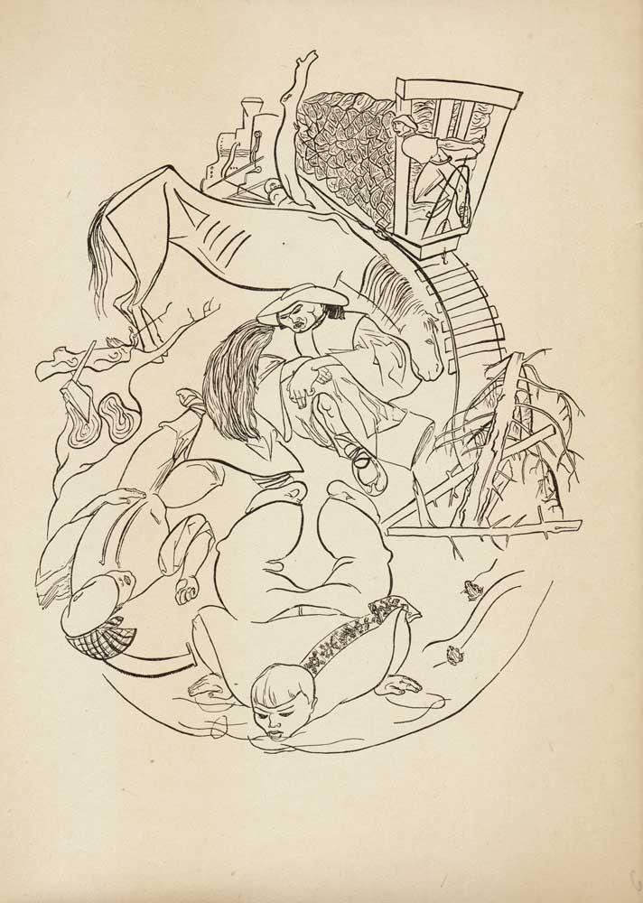 Vasile Kazar, Forest Workers, Pita de mălai (Corn bread) series, 1937, 35x25 cm