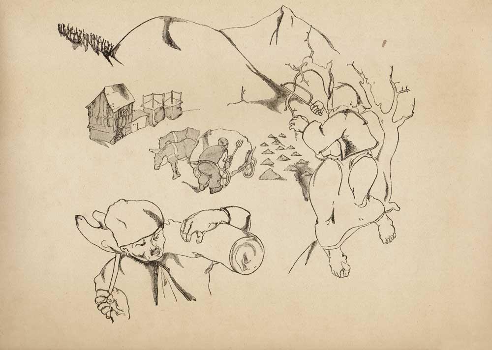Vasile Kazar, Spring Plowing, Pita de mălai (Corn bread) series, 1937, 35x25 cm