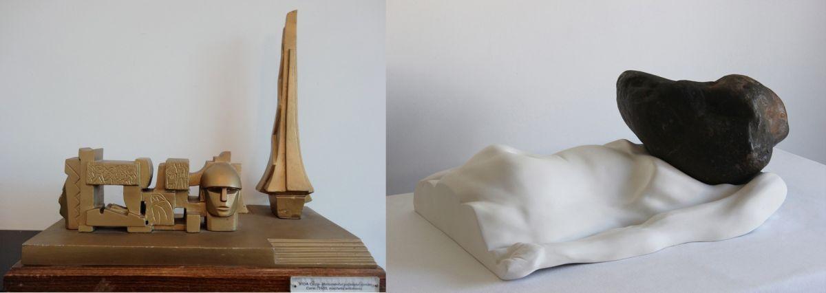 Diptic Postistoric Gheza Vida Macheta Monumentului Ostașului Roman Carei 1964 bronz 38x425 cm stanga si Bogdan Rața The Pressure 2015 Fibre river stone 66×42×27 cm