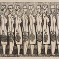 Marcel Olinescu, La coadă, linogravură, hârtie, 30,5 x 42 cm