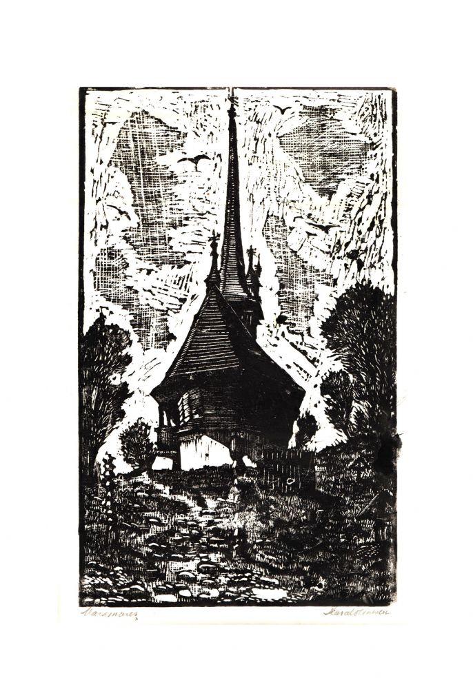 Marcel Olinescu, Maramures, gravură, 38x28 cm