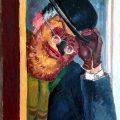 Marcel Olinescu, Omul cu masca, oil on cardboard, 66x42cm