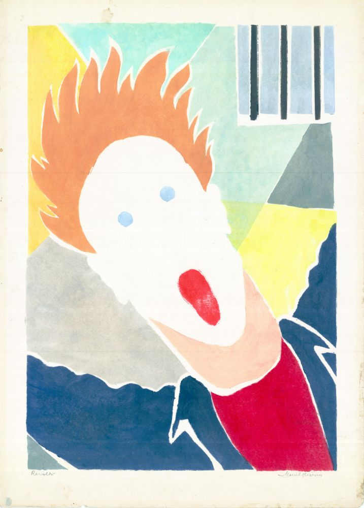 Marcel Olinescu, Revolta, cca. 60, linocut, 50x70 cm