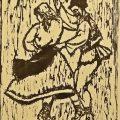 Marcel Olinescu, Învârtita Peasant Dance, 1962, xilogravură pe hârtie, 38,5x29 cm