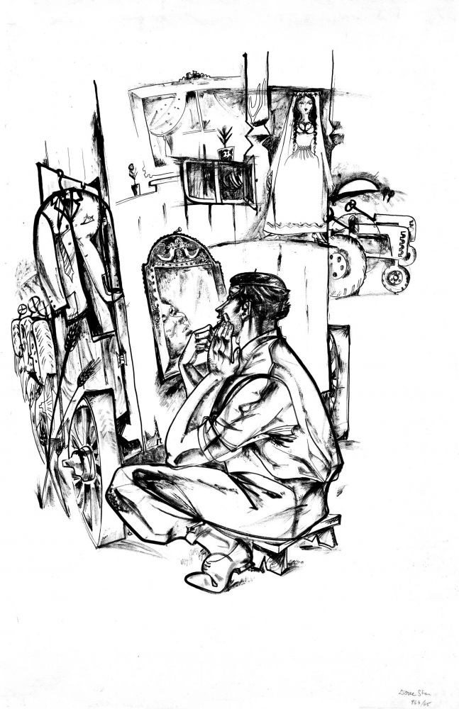 Done Stan, Preparation, 1964, drawing, ink on paper, 100 x 70 cm