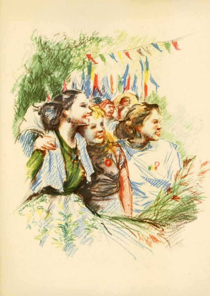 "Florica Cordescu, Group of young girls in park, published in ""Chipuri de pretutindeni"", 1955, ESPLA, 24x33 cm"