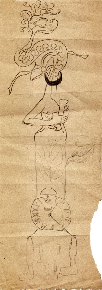 Hedda Sterne, Jules Perahim, Medi Wechsler Dinu, Cadavre exquis 251, 1930-1932, pen and crayons on paper, 11x31,5 cm