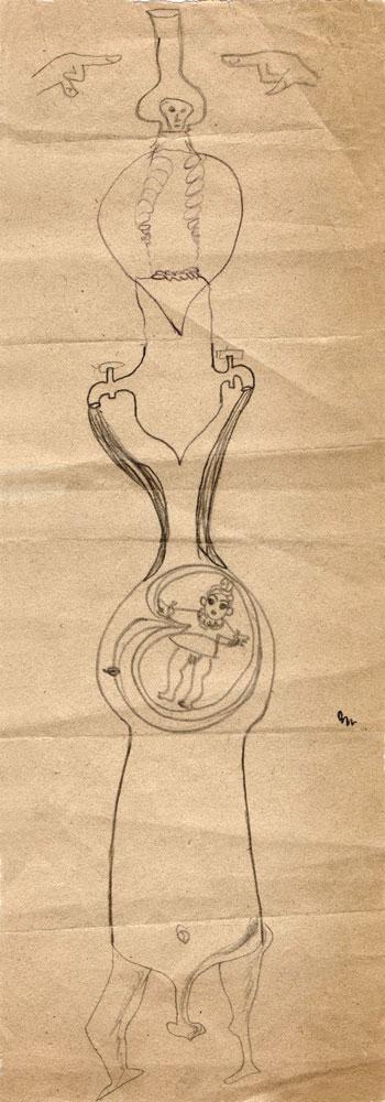 Hedda Sterne, Jules Perahim, Medi Wechsler Dinu, Cadavre exquis 252, 1930-1932, pen and crayons on paper, 11x31,5 cm