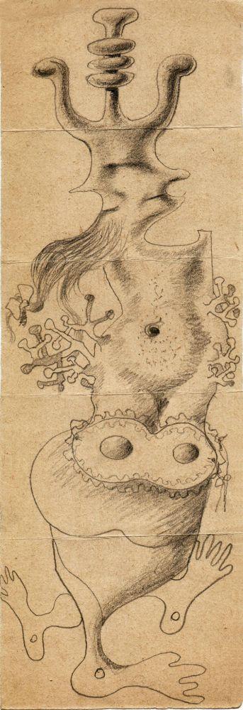 Hedda Sterne, Jules Perahim, Medi Wechsler Dinu, Cadavre exquis 265, 1930-1932, pen and crayons on paper, 11x31,5 cm