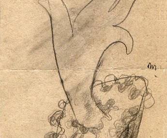 Hedda Sterne, Medi Wechsler Dinu, Cadavre exquis 175, 1930-1932, pen and crayons on paper, 11x31,5 cm
