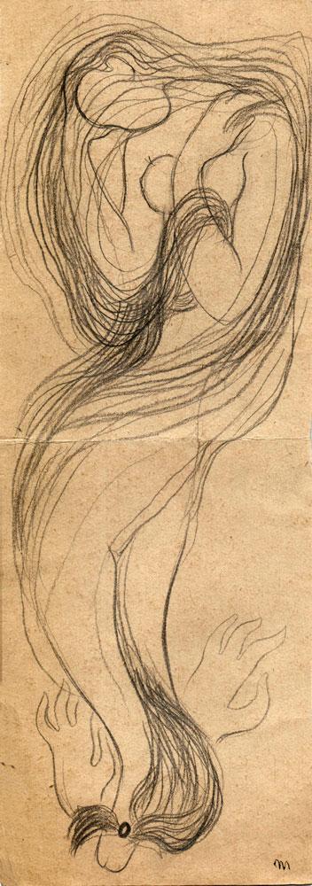 Hedda Sterne, Medi Wechsler Dinu, Cadavre exquis 176, 1930-1932, pen and crayons on paper, 11x31,5 cm