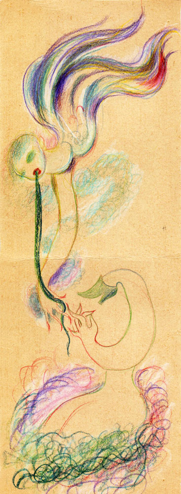 Hedda Sterne, Medi Wechsler Dinu, Cadavre exquis 217, 1930-1932, pastel, pen and crayons on paper, 11x31,5 cm