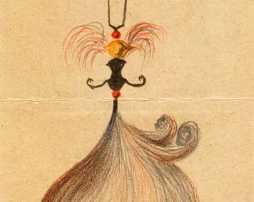 Hedda Sterne, Medi Wechsler Dinu, Cadavre exquis 259, 1930-1932, pastel, pen and crayons on paper, 11x31,5 cm