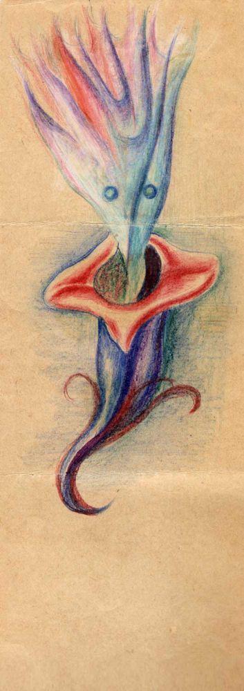 Hedda Sterne, Medi Wechsler Dinu, Cadavre exquis no 120, 1930-1932, pastel and crayons on paper, 31,5x11cm