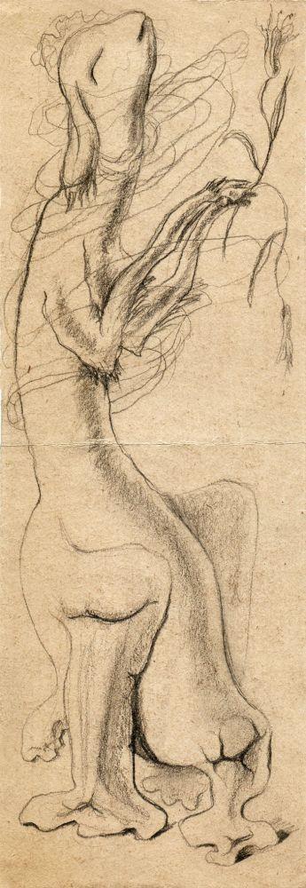 Hedda Sterne, Medi Wechsler Dinu, Cadavre exquis no 171, 1930-1932, pen and crayons on paper, 11x31,5 cm