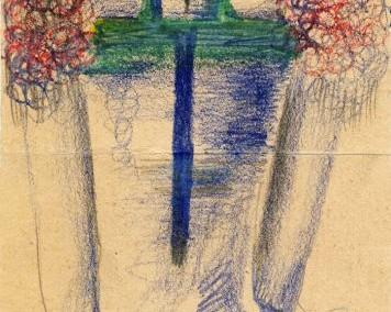 Hedda Sterne, Medi Wechsler Dinu, Cadavre exquis no 185, 1930-1932, pastel, pen and crayons on paper, 11.5x31,5 cm