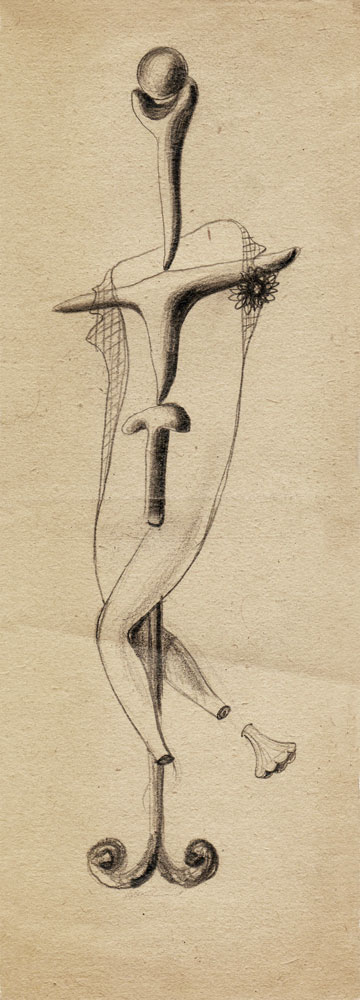Hedda Sterne, Theodore Brauner, Cadavre exquis 254, 1930-1932, pen and crayons on paper, 11x31,5 cm