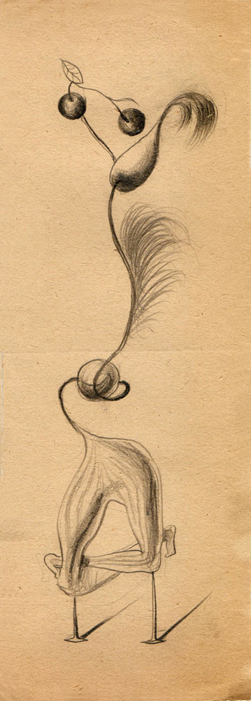 Hedda Sterne, Theodore Brauner, Cadavre exquis 256, 1930-1932, pen and crayons on paper, 11x31,5 cm
