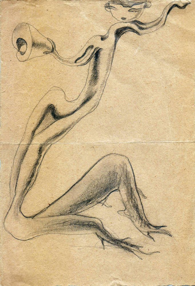 Hedda Sterne, Theodore Brauner, Cadavre exquis 359, 1930-1932, pen and crayons on paper, 16.5x24 cm