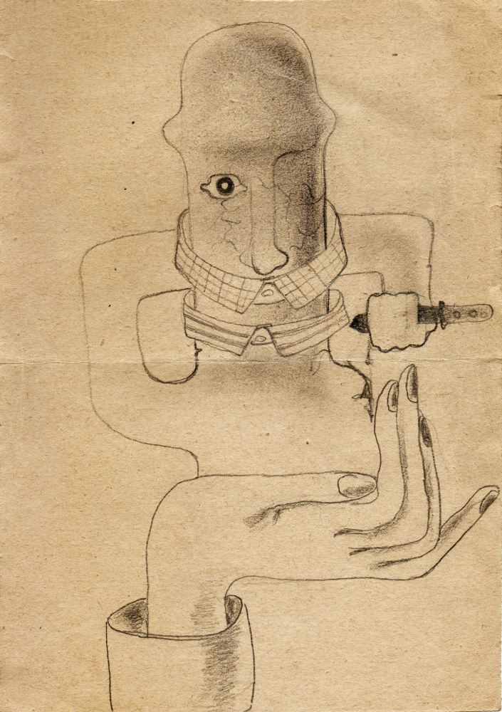 Hedda Sterne, Theodore Brauner, Cadavre exquis 361, 1932, pen and crayons on paper, 16x22,5 cm