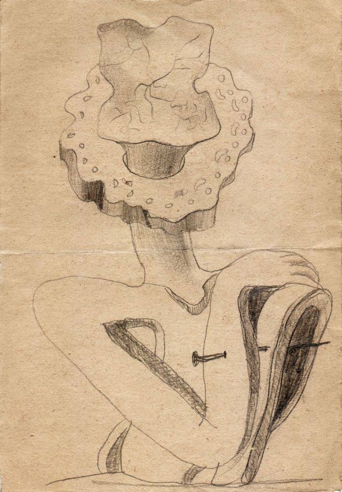 Hedda Sterne, Theodore Brauner, Cadavre exquis 362, 1932, pen and crayons on paper, 16x23 cm