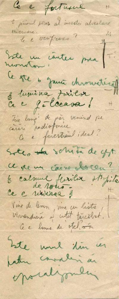 Hedda Sterne, Theodore Brauner, Medi Wechsler Dinu, Cadavre exquis 10, ink, pen and crayons on paper, 11,5x29 cm