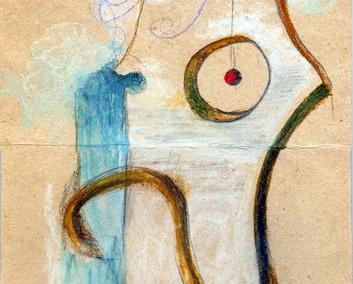 Hedda Sterne, Theodore Brauner, Medi Wechsler Dinu, Cadavre exquis 118, 1930-1932, pastel, pen and crayons on paper, 11x31,5 cm