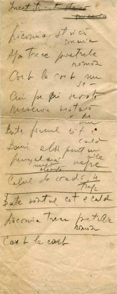 Hedda Sterne, Theodore Brauner, Medi Wechsler Dinu, Cadavre exquis 12, ink, pen and crayons on paper, 11,5x29 cm