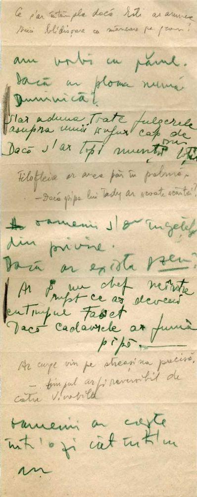 Hedda Sterne, Theodore Brauner, Medi Wechsler Dinu, Cadavre exquis 20, ink, pen and crayons on paper, 11,5x29 cm