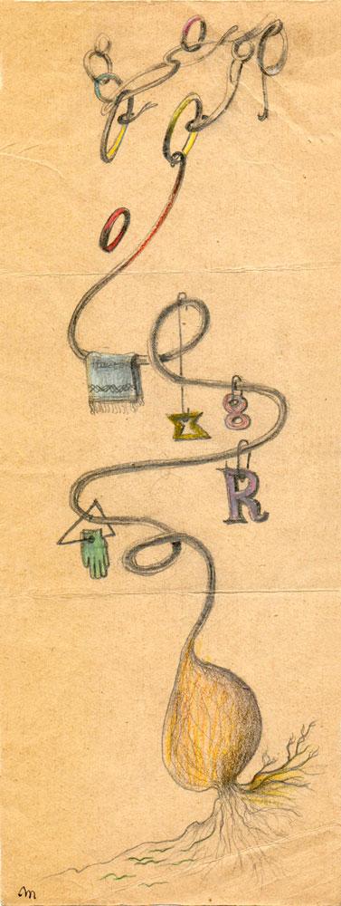 Hedda Sterne, Theodore Brauner, Medi Wechsler Dinu, Cadavre exquis 240, 1930-1932, pastel, pen and crayons on paper, 11x31,5 cm