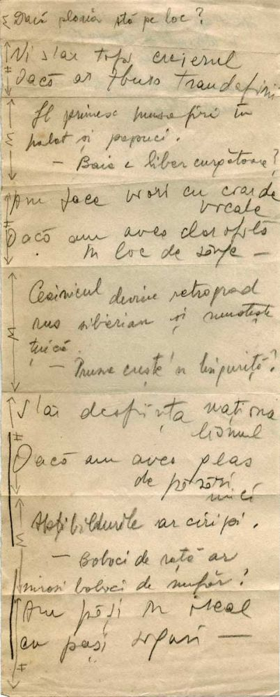 Hedda Sterne, Theodore Brauner, Medi Wechsler Dinu, Cadavre exquis 9, ink, pen and crayons on paper, 11,5x29 cm