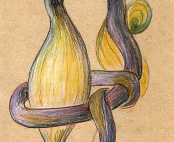 Hedda Sterne, Theodore Brauner, Medi Wechsler Dinu, Cadavre exquis no 117, 1930-1932, pastel and crayons on paper, 31,5x11cm