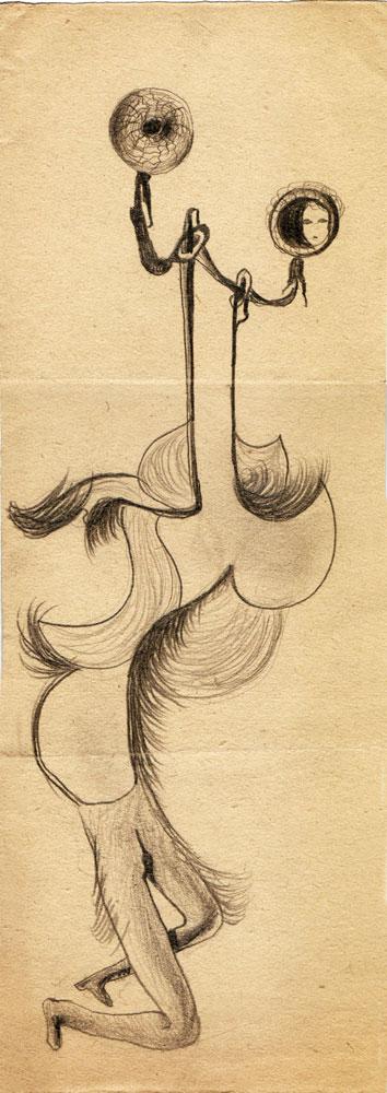 Hedda Sterne, Theodore Brauner, Medi Wechsler Dinu, Cadavre exquis no 126, 1930-1932, crayons on paper, 31,5x11cm