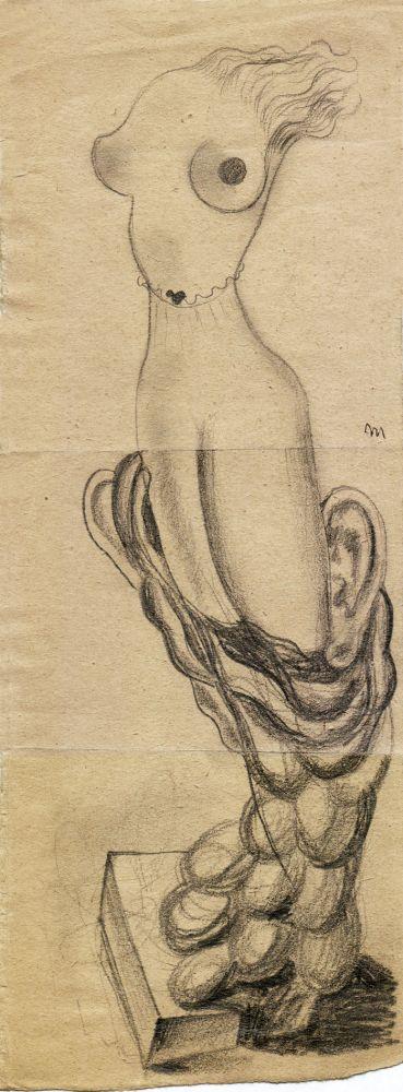 Hedda Sterne, Theodore Brauner, Medi Wechsler Dinu, Cadavre exquis no 166, 1930-1932, crayons on paper, 31,5x12cm