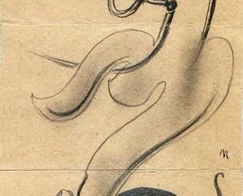 Hedda Sterne, Theodore Brauner, Medi Wechsler Dinu, Cadavre exquis no 17, 1930-1932, crayons on paper, 31,5x11cm