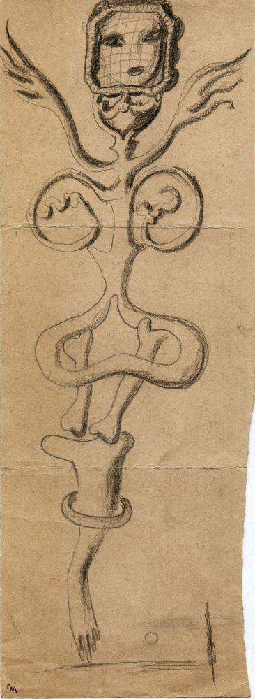 Hedda Sterne, Theodore Brauner, Medi Wechsler Dinu, Cadavre exquis no 234, 1930-1932, crayons on paper, 31,5x11,5cm